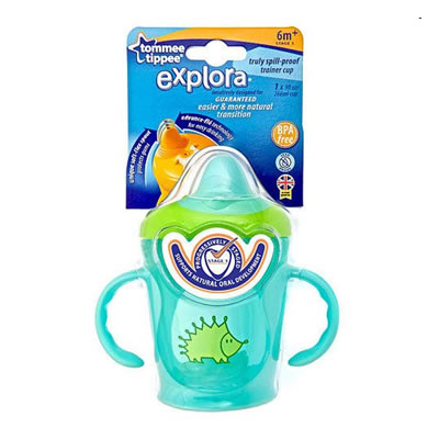 Tommee Tippee 1-Pack Explora Truly Spill Proof Trainer Cup 9oz - 6m+ - Aqua/Hedgehog  (BPA FREE)