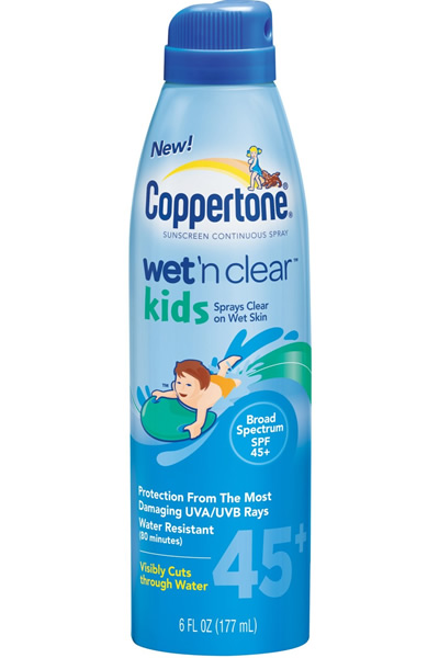 Coppertone Kids Wet 'N Clear Spray - SPF 45+ - 6 oz