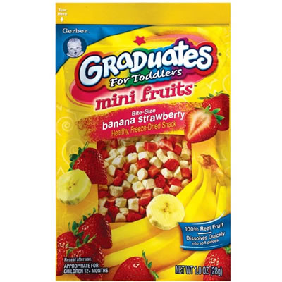 Gerber Graduates Fruit & Veggie Minis Mini Fruits Bite - Size Banana Strawberry