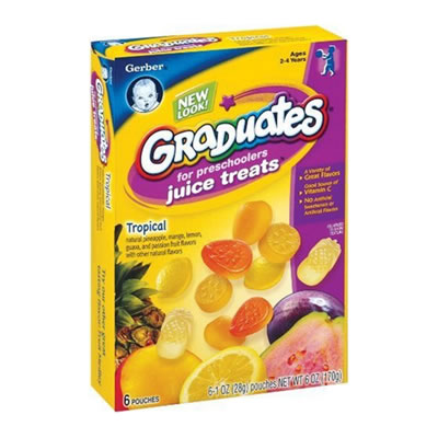 Gerber Graduates Juice Treats, Tropical, 6-Count Pouches (Pack of 6)