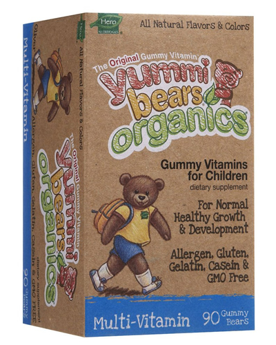 Hero Yummi Bears Organics Multi, Vitamin Gummies, Fruit Flavor, 90 ct